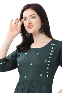 Admyrin Dark Green Pure Cotton Embroidered Kurti