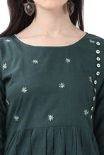 Load image into Gallery viewer, Admyrin Dark Green Pure Cotton Embroidered Kurti