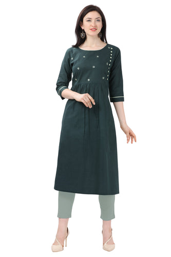 Admyrin Dark Green Pure Cotton Printed Kurti