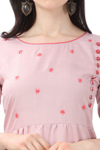 Load image into Gallery viewer, Admyrin Baby Pink Pure Cotton Embroidered Kurti