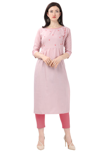Admyrin Baby Pink Pure Cotton Embroidered Kurti