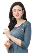 Load image into Gallery viewer, Admyrin Blue Pure Cotton Embroidered Kurti