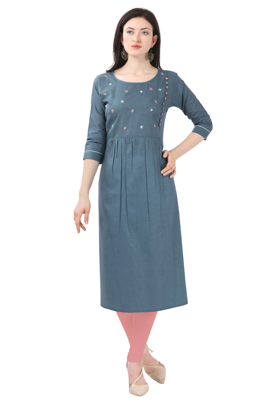 Admyrin Blue Pure Cotton Embroidered Kurti