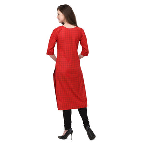 Admyrin Red Rayon & Cotton Straight Fit Printed Kurti