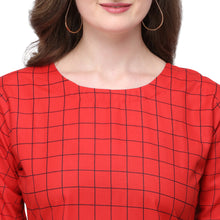 Load image into Gallery viewer, Admyrin Red Rayon & Cotton Straight Fit Printed Kurti