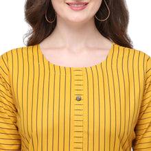 Load image into Gallery viewer, Admyrin Yellow Rayon & Cotton Straight Fit Printed Kurti