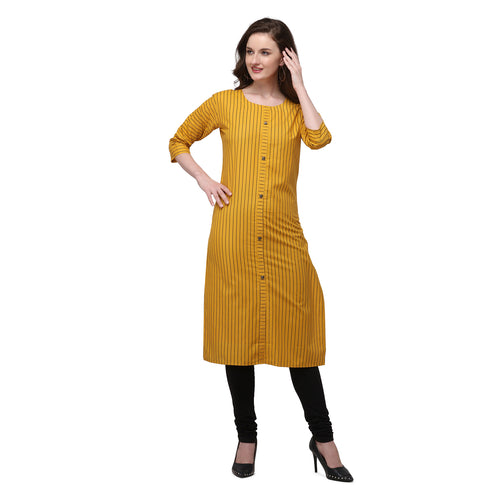 Admyrin Yellow Rayon & Cotton Straight Fit Printed Kurti