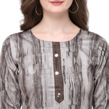 Load image into Gallery viewer, Admyrin Grey & Brown Rayon & Cotton Straight Fit Printed Kurti
