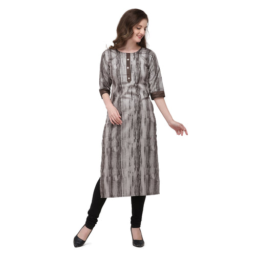Admyrin Grey & Brown Rayon & Cotton Straight Fit Printed Kurti