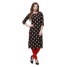 Load image into Gallery viewer, Admyrin Black Rayon & Cotton Straight Fit Printed Kurti