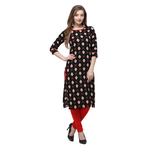 Admyrin Black Rayon & Cotton Straight Fit Printed Kurti