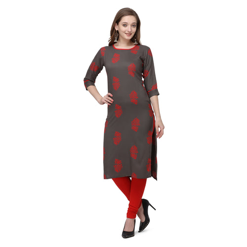 Admyrin Dark Grey Rayon & Cotton Straight Fit Printed Kurti