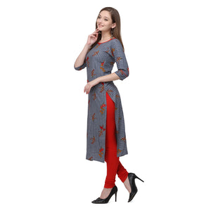 Admyrin Grey Rayon & Cotton Straight Fit Printed Kurti