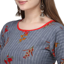 Load image into Gallery viewer, Admyrin Grey Rayon & Cotton Straight Fit Printed Kurti