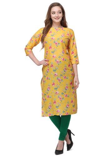 Admyrin Yellow Cotton Muslin Straight Fit Digitally Printed Kurti