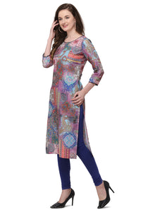 Admyrin Multi Colour Cottan Muslin Straight Fit Digitally Printed Kurti