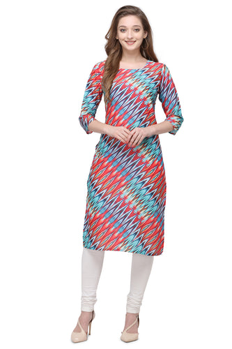 Admyrin Multi Colour Cotton Muslin Straight Fit Digitally Printed Kurti