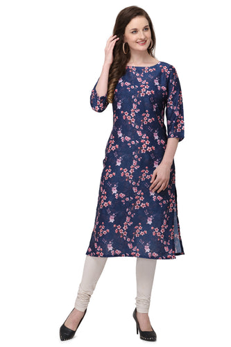 Admyrin Dark Blue Cotton Muslin Straight Fit Digitally Printed Kurti