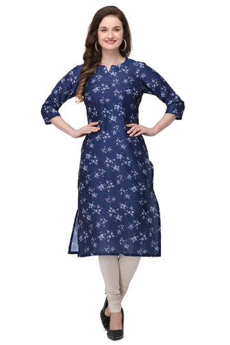 Admyrin Blue Cotton Muslin Straight Fit Digitally Printed Kurti