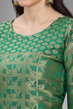 Load image into Gallery viewer, Admyrin Green Poly Silk with Full Zari Jacquard Work Kurti