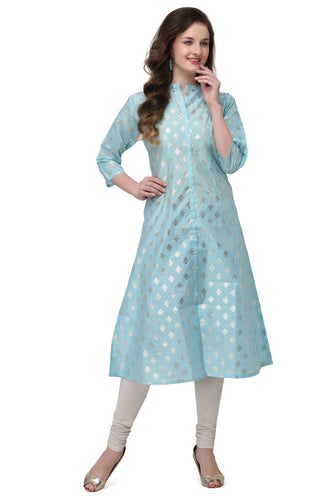Admyrin Aqua Pure Chanderi Cotton Straight Block Printed Kurti