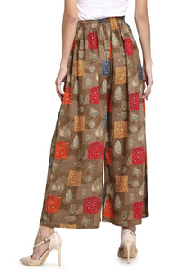Admyrin Brown Heavy Rayon Ready to Wear Printed Palazzo(Free Size)