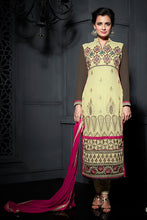 Load image into Gallery viewer, Bhelpuri Dia Mirza Beige and Brown Georgette Embroidered Salwar Kameez with Dupatta