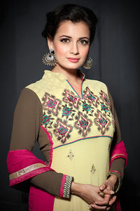 Bhelpuri Dia Mirza Beige and Brown Georgette Embroidered Salwar Kameez with Dupatta