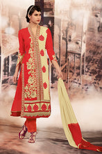 Load image into Gallery viewer, Bhelpuri Red and Cream Embroidered Georgette Salwar Kameez with Dupatta