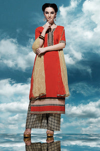 Bhelpuri Red Cotton Salwar Kameez with Printed Bottom and Chiffon Dupatta