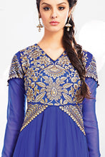 Load image into Gallery viewer, Bhelpuri Blue Georgette Anarkali Suit with Yellow Dupatta