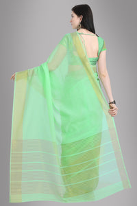 Bhelpuri Light Green Linen Woven Saree with Blouse Piece