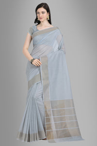 Bhelpuri Grey Linen Woven Saree with Blouse Piece