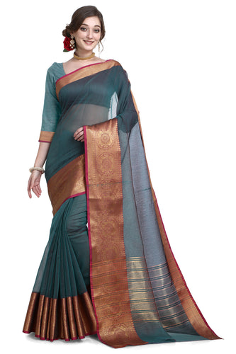 Bhelpuri Rama green Cotton Kota Doria Jacquard work Traditional Saree with Blouse Piece