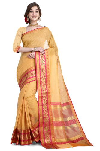 Bhelpuri Mustard Cotton Kota Doria Jacquard work Traditional Saree with Blouse Piece
