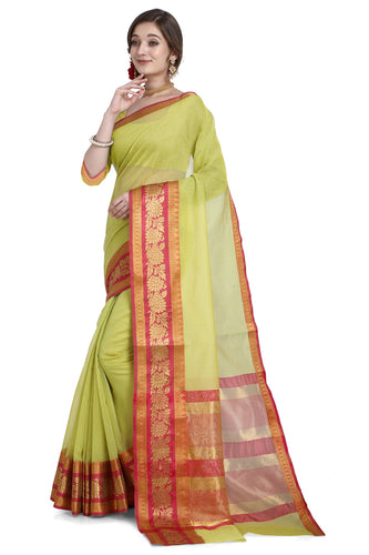 Bhelpuri Green Cotton Kota Doria Jacquard work Traditional Saree with Blouse Piece