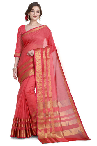 Bhelpuri Pink Cotton Kota Doria Jacquard work Traditional Saree with Blouse Piece