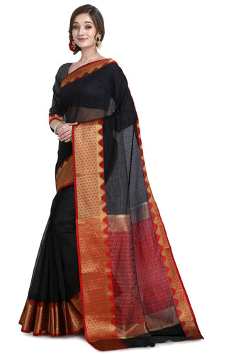 Bhelpuri Black Cotton Kota Doria Jacquard work Traditional Saree with Blouse Piece