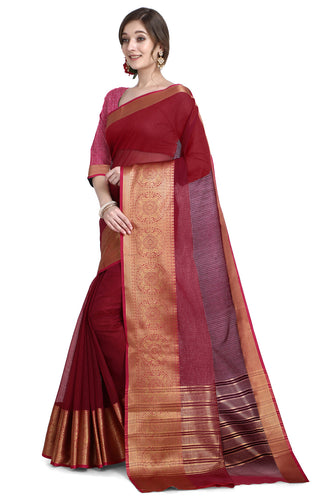 Bhelpuri Magenta Cotton Kota Doria Jacquard work Traditional Saree with Blouse Piece
