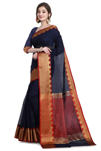 Bhelpuri Navy Blue Cotton Kota Doria Jacquard work Traditional Saree with Blouse Piece