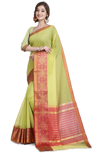 Bhelpuri Paroot Green Cotton Kota Doria Jacquard work Traditional Saree with Blouse Piece
