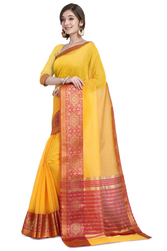 Bhelpuri Yellow Cotton Kota Doria Jacquard work Traditional Saree with Blouse Piece