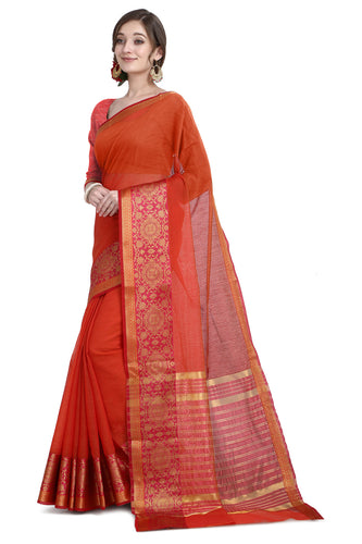 Bhelpuri Red Cotton Kota Doria Jacquard work Traditional Saree with Blouse Piece