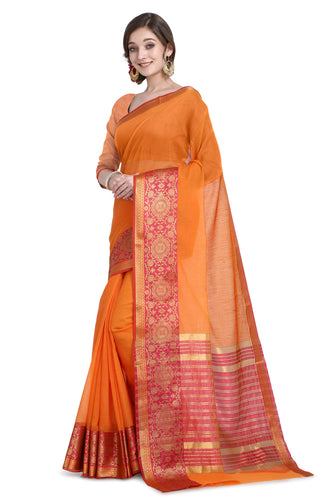 Bhelpuri Orange Cotton Kota Doria Jacquard work Traditional Saree with Blouse Piece