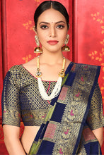 Load image into Gallery viewer, Bhelpuri Navy Blue Manyavar Silk Woven Saree with Blouse Piece