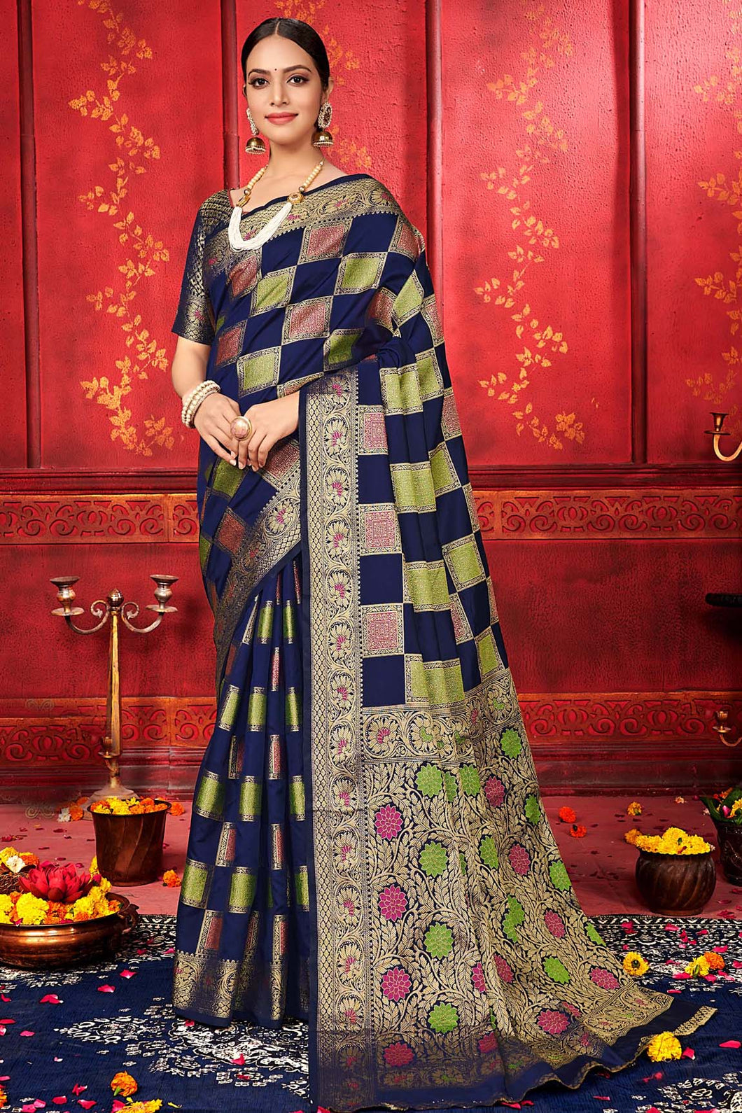 Bhelpuri Navy Blue Manyavar Silk Woven Saree with Blouse Piece