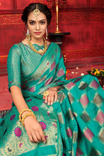 Load image into Gallery viewer, Bhelpuri Green Manyavar Silk Woven Saree with Blouse Piece