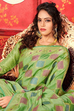 Load image into Gallery viewer, Bhelpuri Light Green Manyavar Silk Woven Saree with Blouse Piece
