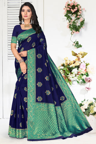 Bhelpuri Navy Blue Poly Silk Embroidered with jaqcard Border Saree with Blouse Piece