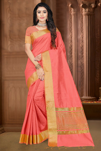Bhelpuri Pink Jute Silk Dying  with jaqcard Border Saree with Blouse Piece